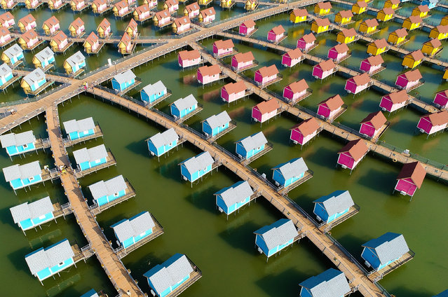 A general view of the dutch-style cabins of Yue Tuo Island Resort near Laoting on September 18, 2017 in Tangshan, China. (Photo by Lintao Zhang/Getty Images)