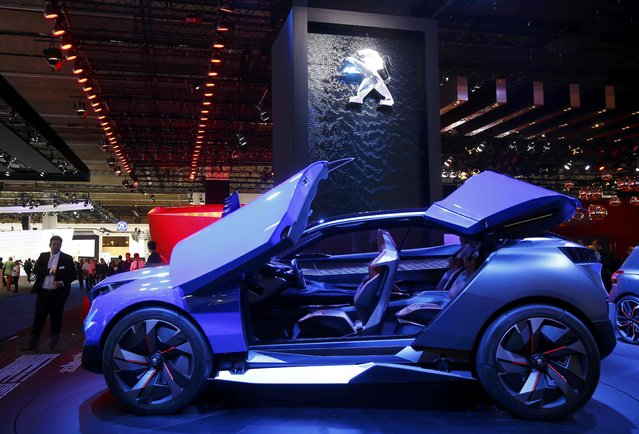 A Peugeot Quartz concept car is pictured during the media day at the Frankfurt Motor Show (IAA) in Frankfurt, Germany, September 15, 2015. (Photo by Kai Pfaffenbach/Reuters)