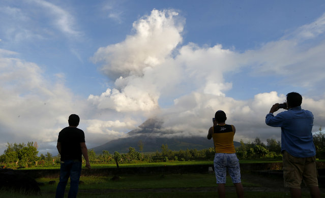 Tourists take photos as Mayon volcano erupts anew as seen from Camalig township, Legazpi city, Albay province, southeast of Manila, Philippines Friday, January 26, 2018.More lava was spilling from a Philippine volcano also sending up columns of ash over farmland and towns already coated in gray after a nearly two-week eruption. (Photo by Bullit Marquez/AP Photo)
