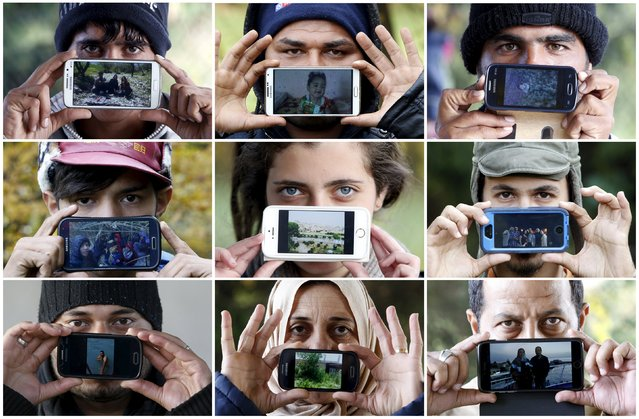Combination of photos show migrants holding up pictures of their homelands and loved ones as they wait to cross the Slovenia-Austria border in Sentilj, Slovenia October 25, 2015. (Photo by Srdjan Zivulovic/Reuters)