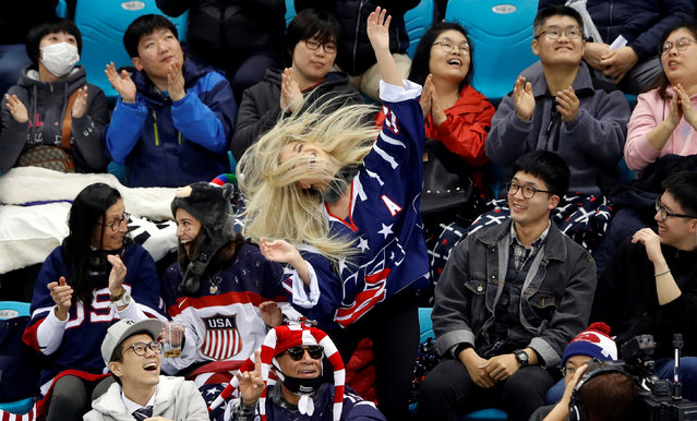 Team U.S. fan dances in the crowd during the ice hockey play- off semi- final game between the US and Italy at the Gangneung Hockey Centre during the Pyeongchang 2018 Winter Paralympic Games in Gangneung on March 15, 2018. (Photo by Carl Recine/Reuters)