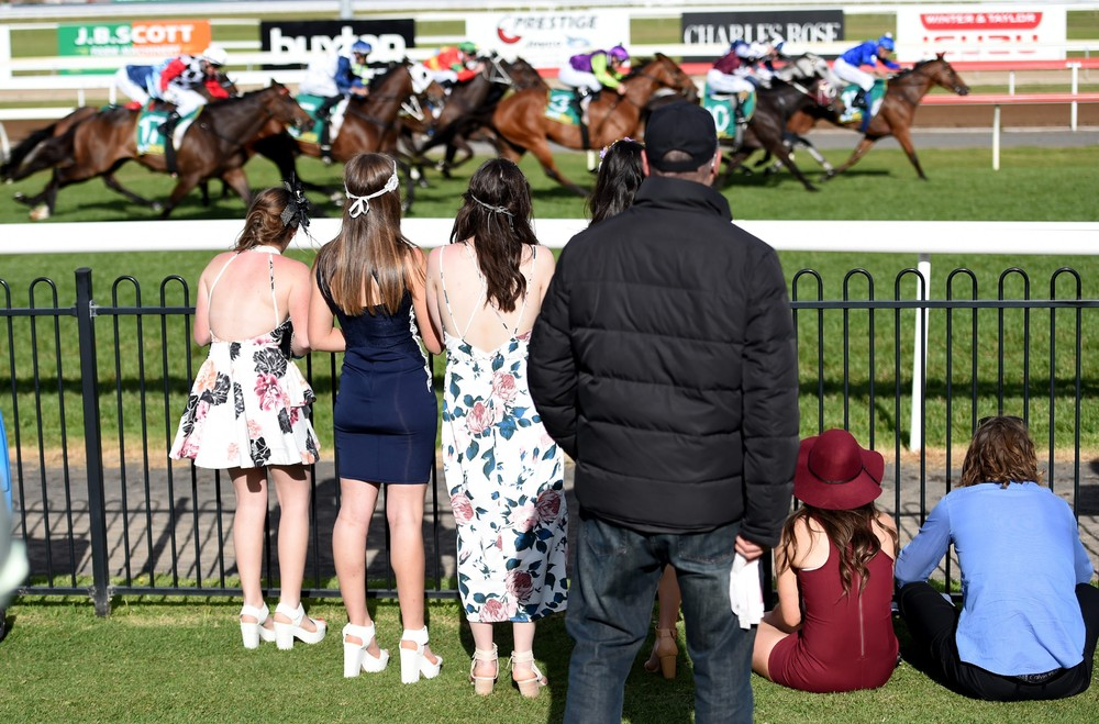 Racegoers on the Australian Geelong Cup
