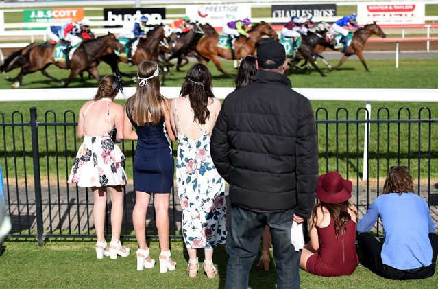 Race goers watch the last race after the Geelong Cup on Geelong Cup day at Geelong Racecourse in Melbourne, Australia, 19 October 2016. (Photo by Tracey Nearmy/EPA)