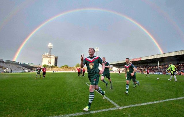 Bohemians vs Cork City, Dalymount Park, Dublin. Cork City's Denis Behan celebrates scoring from the penalty spot on May 10, 2013. (Photo by Morgan Treacy/INPHO)