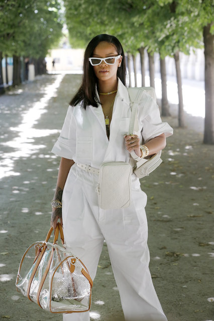 Singer Rihanna attends the Louis Vuitton Menswear Spring/Summer 2019 show as part of Paris Fashion Week on June 21, 2018 in Paris, France. (Photo by Chesnot/WireImage)