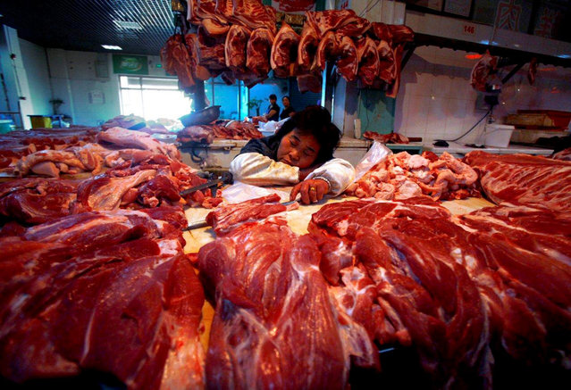 A vendor selling pork sleeps while still holding onto her knife at a market in Beijing September 7, 2012. (Photo by David Gray/Reuters)