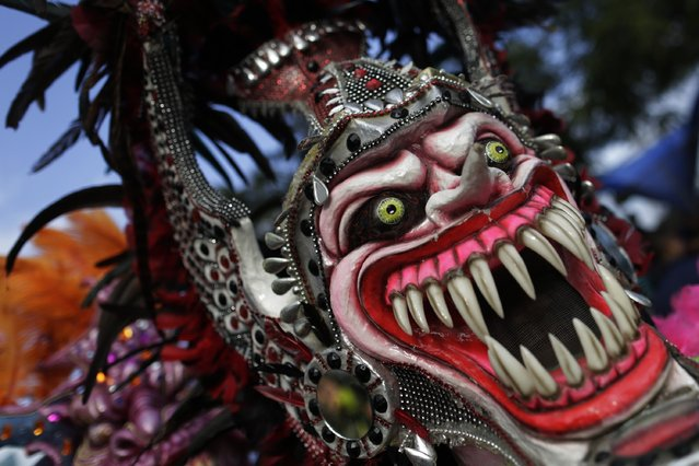 A reveler wearing a mask participates in the third day of the annual Carnival parade in Panama City February 16, 2015. (Photo by Carlos Jasso/Reuters)