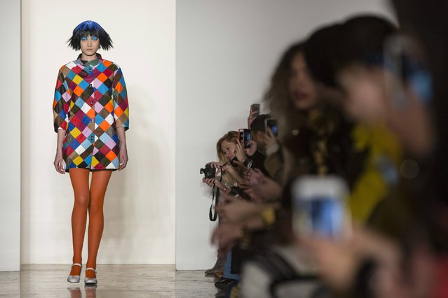 A model presents a creation from the Jeremy Scott Fall/Winter 2015 collection at New York Fashion Week February 18, 2015. (Photo by Andrew Kelly/Reuters)