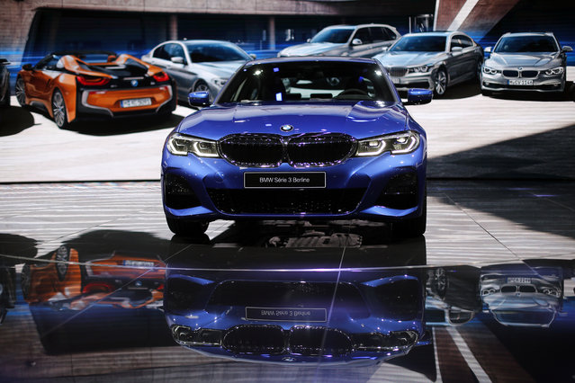 The BMW 3 is on display at the Auto show in Paris, France, Tuesday, October 2, 2018, 2018. The German manufacturer unveiled the latest iteration of the 3, its best-selling model that has sold more than 50 million units, at the Paris auto show on Tuesday. (Photo by Thibault Camus/AP Photo)