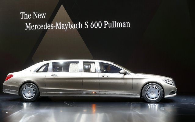 The new Mercedes-Maybach S 600 Pullman is presented to the media ahead of the 85th International Motor Show, in Geneva March 3, 2015. REUTERS/Arnd Wiegmann