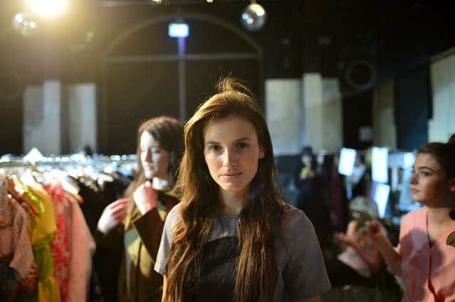 """A model is seen backstage ahead of the """"Ethical Fashion Show"""" during the Mercedes-Benz Fashion Week Berlin Autumn/Winter 2016 at Postbahnhof on January 19, 2016 in Berlin, Germany. (Photo by Thomas Lohnes/Getty Images for Ethical Fashion)"""