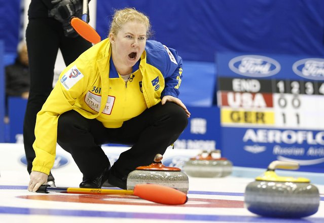 Sweden's fourth Maria Prytz instructs her team mates during their curling round robin game against Russia at the World Women's Curling Championships in Sapporo March 16, 2015. (Photo by Thomas Peter/Reuters)