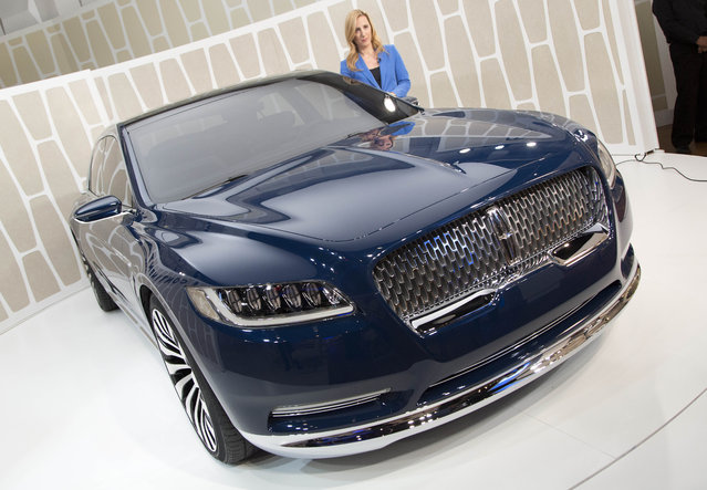 A Lincoln Continental concept car is shown at the New York International Auto Show, Monday, March 30, 2015, in New York. (Photo by Mark Lennihan/AP Photo)