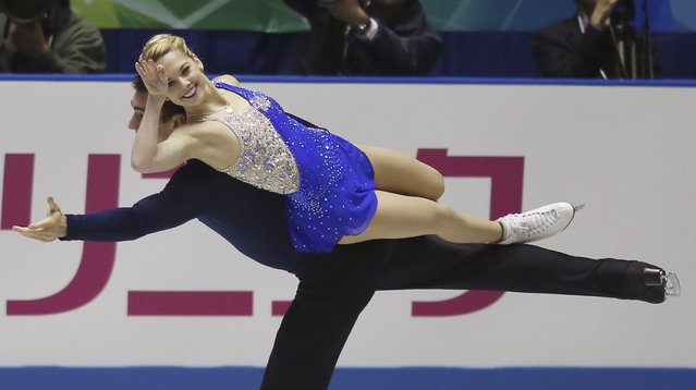 Alexa Scimeca and Chris Knierm of  the United States perform during the pairs free skate at the World Team Trophy Figure Skating Championships in Tokyo, Saturday, April 18, 2015. (Photo by Koji Sasahara/AP Photo)