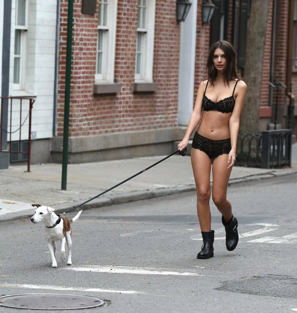 Emily Ratajkowski filming DKNY commercial on January 20, 2017 in New York City, USA. (Photo by Startraks Photo/Rex Features/Shutterstock)