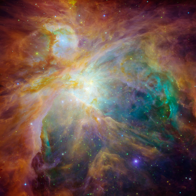 An image of the Orion nebula shows four monstrously massive stars at the center of the cloud. (Photo by Reuters/NASA/JPL-Caltech/T. Megeath/University of Toledo/M. Robberto/STScI)