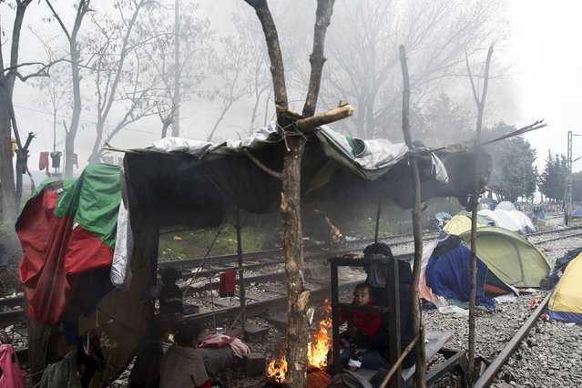 A migrant family find shelter under a makeshift tent at a camp for refugees and migrants at the Greek-Macedonian border, near the village of Idomeni, Greece March 16, 2016. (Photo by Alkis Konstantinidis/Reuters)