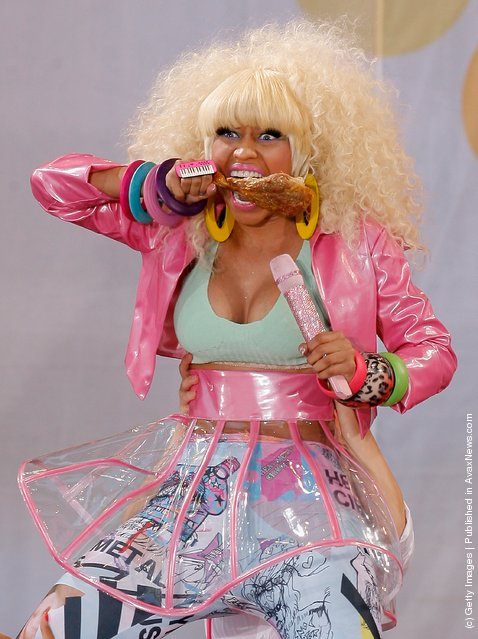 Singer-rapper Nicki Minaj performs on ABC's Good Morning America at Rumsey Playfield, Central Park
