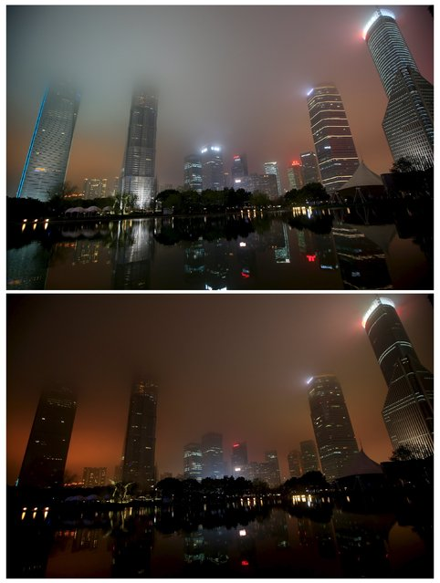 A combination photograph shows the financial district of Pudong before (top) and during Earth Hour in Shanghai, China, March 19, 2016. (Photo by Aly Song/Reuters)