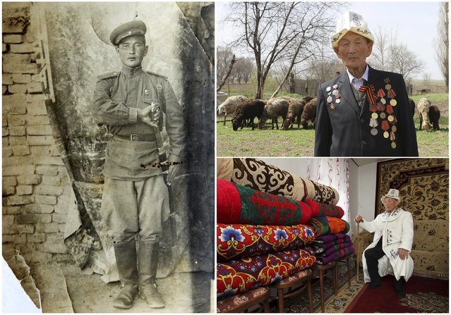 World War Two veteran Abla Begaliyev, 91, is seen in an undated handout picture (L), poses for a picture in Arashan (Top R) and at home in Kyrgyzstan April 14, 2015. Begaliyev served in the border guard cavalry from February 1942 until April 1947. Originally from Kyrgyzstan, he fought on the Ukrainian front and relocated to the border with Afghanistan at the end of World War Two. (Photo by Vladimir Pirogov/Reuters/Family handout (L))