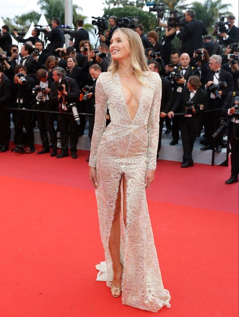 "Victoria's Secret model Romee Strijd arrives for the screening of ""The Dead Don't Die"" and the Opening Ceremony of the 72nd annual Cannes Film Festival in Cannes, France, 14 May 2019. (Photo by Guillaume Horcajuelo/EPA/EFE)"