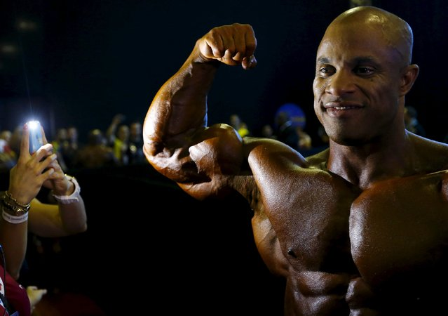 Dominican bodybuilder Victor Martinez poses before the finals of the Arnold Classic Brazil 2015 in Rio de Janeiro, May 30, 2015. REUTERS/Ricardo Moraes