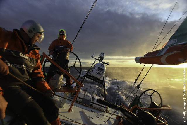 Groupama Sailing Team, skippered by Franck Cammas of France during leg 1 of the Volvo Ocean Race to Cape Town