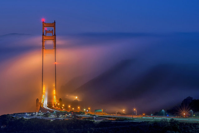 Golden Bridge Alignment by Jay Huang, United States: Golden Gate Bridge during a low fog event. Winner – cities and nature. (Photo by Jay Huang/The Nature Conservancy Global Photo Contest 2019)