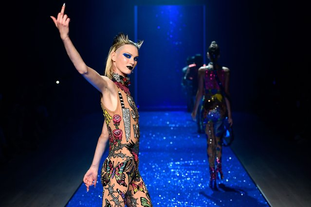 A model walks the runway during the Di$count Universe show at Mercedes-Benz Fashion Week Resort 17 Collections at Carriageworks on May 18, 2016 in Sydney, Australia. (Photo by Stefan Gosatti/Getty Images)