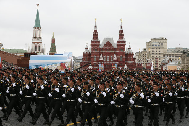 Russian marines march along Red Square during the Victory Day military parade to celebrate 72 years since the end of WWII and the defeat of Nazi Germany, in Moscow, Russia, on Tuesday, May 9, 2017. (Photo by Alexander Zemlianichenko/AP Photo)