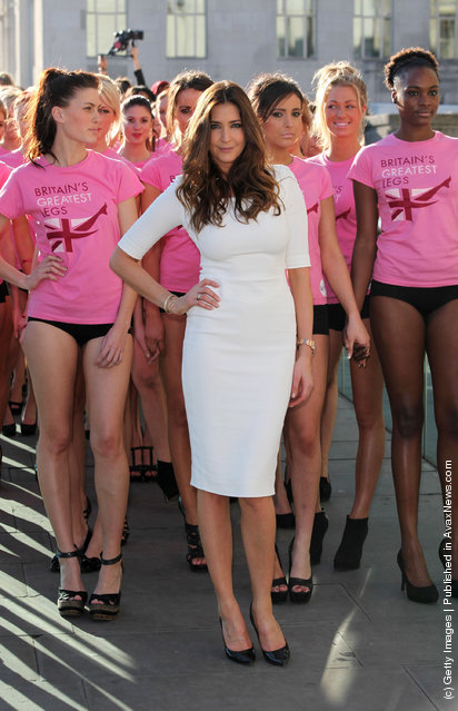 Lisa Snowdon (C) takes part in the launch of the new Veet Easywax campaign in a bid to find 'Britain's Greatest Legs' on February 23, 2012 in London
