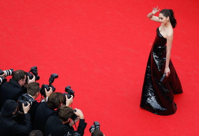 """British-Thai actress Araya A. Hargate aka Chompoo arrives for the screening of """"The Search"""" during the 67th annual Cannes Film Festival, in Cannes, France, 21 May 2014. The movie is presented in the Official Competition of the festival which runs from 14 to 25 May. (Photo by Julien Warnand/EPA)"""