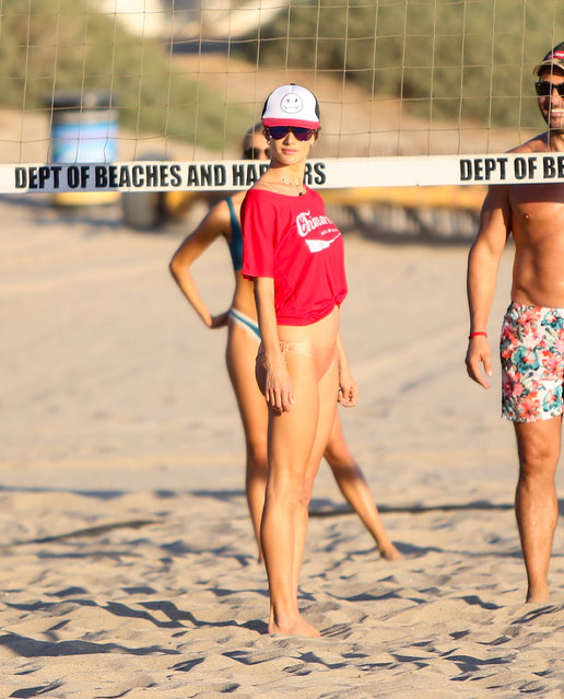 Alessandra Ambrosio playing volleyball in Los Angeles, USA on October 26, 2019. (Photo by Rex Features/Shutterstock)
