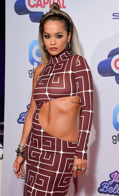 Rita Ora during the media run on day one of Capital's Jingle Bell Ball with Seat at London's O2 Arena on December 7, 2019. (Photo by Ian West/PA Images via Getty Images)