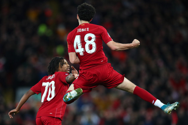 Curtis Jones of Liverpool celebrates after scoring his team's first goal during the FA Cup Third Round match between Liverpool and Everton at Anfield on January 05, 2020 in Liverpool, England. (Photo by Clive Brunskill/Getty Images)