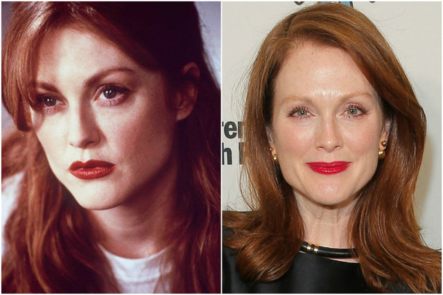 Julianne Moore in 1995 and today. (Photo by Getty Images)