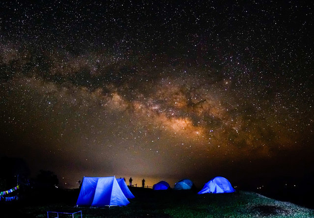 In this photo taken on April 4, 2017 shows the Milky Way, from the Australian Camp (around 2090 above sea level), at Dhampus village in Kaski district some 232 kilometer from Kathmandu, Nepal. (Photo by Sunil Pradhan/NurPhoto via ZUMA Press)