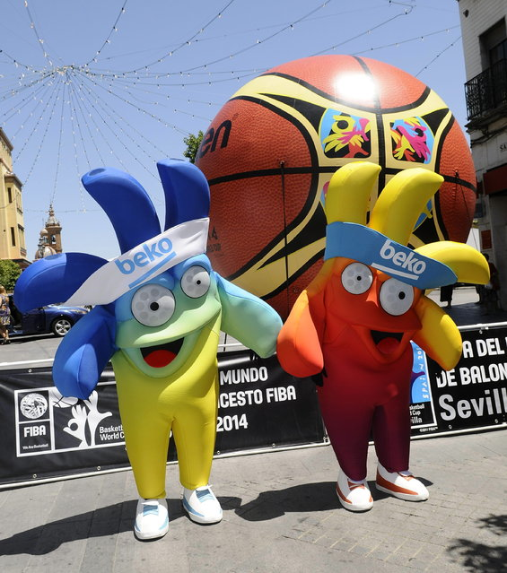 Mascots of the Basketball World Cup 2014, Ole and Hop, are photographed during their presentation with the official ball in Seville, Spain, July 22, 2014. Spain's Basketball World Cup 2014 will take place from 30 August to 14 September. (Photo by Raul Caro/EPA)
