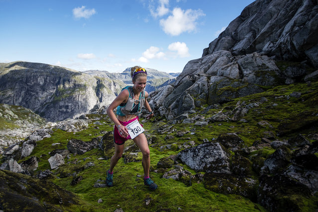 Female winner Ane Guro Moen at Hardangervidda Marathon on September 2, 2017 in Eidfjord, Norway. Hardangervidda Marathon goes through parts of the National Park of Hardangervidda, passing through glaciers and waterfalls. (Photo by Kai-Otto Melau/Getty Images)