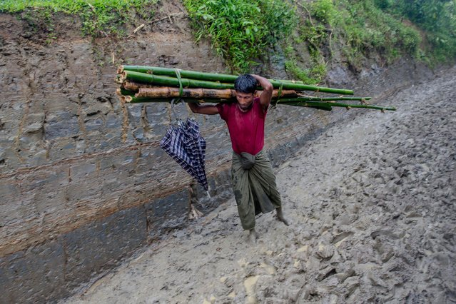 A Rohingya Muslim man, Noor Ul Salam, carries bamboo for the construction of his shelter as he walks through mud covered road near Taiy Khali refugee camp, Bangladesh, Tuesday, September 19, 2017. (Photo by Dar Yasin/AP Photo)