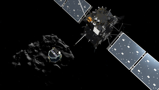 This handout file artist impression released on November 12, 2014 by the ESA/ATG medialab shows the European probe Philae separating from its mother ship Rosetta and descending to the surface of comet 67P/Churyumov-Gerasimenko. Ground controllers bid a final farewell on July 27, 2016 to robot lab Philae, cutting communications after a year-long silence with the tiny probe hurtling through space on the surface of a comet. The decision to cut the link was taken to save energy on mothership Rosetta, orbiting around comet 67P/Churyumov-Gerasimenko, for the final weeks of its own historic mission. (Photo by AFP Photo/European Sapce Agency)