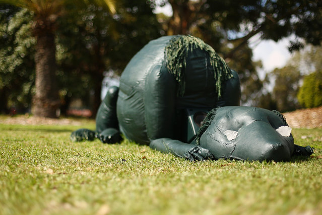 """Anibus, Who is a Very Good Dog, Waits for His Master, Who is Never Coming Back"" by Kuba Dorabialski and Katy B. Plummer is seen as part of the ""Hidden"" annual sculpture exhibition at Rookwood Cemetery on September 15, 2014 in Sydney, Australia. (Photo by Mark Kolbe/Getty Images)"