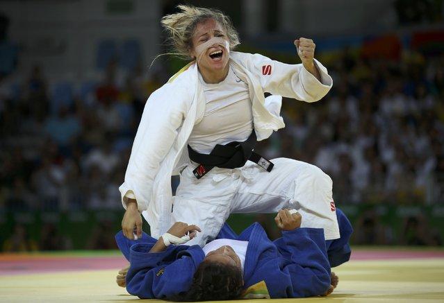 2016 Rio Olympics, Judo, Preliminary, Women, 52 kg Elimination Rounds, Carioca Arena 2, Rio de Janeiro, Brazil on August 7, 2016. Laura Gomez (ESP) of Spain and Gulbadam Babamuratova (TKM) of Turkmenistan react. (Photo by Toru Hanai/Reuters)