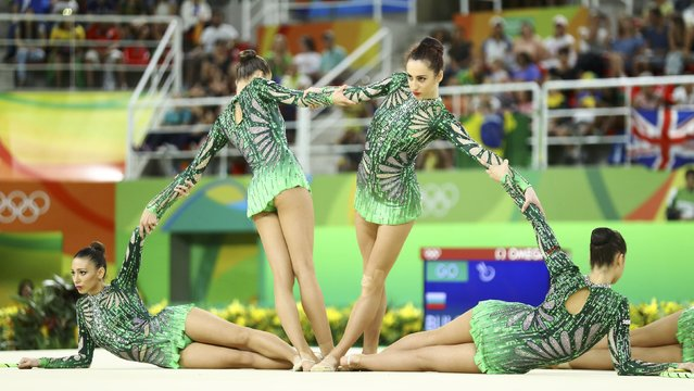 2016 Rio Olympics, Rhythmic Gymnastics, Preliminary, Group All-Around Qualification, Rotation 2, Rio Olympic Arena, Rio de Janeiro, Brazil on August 20, 2016. Team Bulgaria (BUL) compete using clubs and hoops. (Photo by Mike Blake/Reuters)