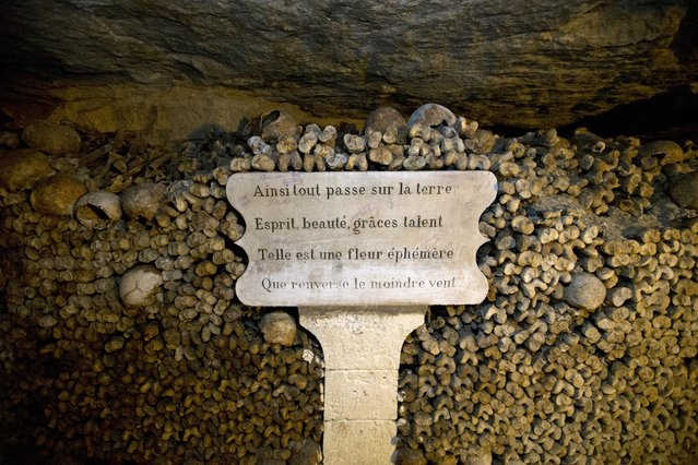 """In this photo taken Tuesday, October 14, 2014, a plaque reading, """"Everything fades away on earth, Spirit, Beauty, Grace, Talent, as an ephemeral flower that is knocked down by the lightest wind"""" wedges skulls and bones stacked at the Catacombs in Paris, France. (Photo by Francois Mori/AP Photo)"""