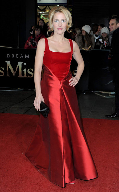 Actress Gillian Anderson attends the 'Les Miserables' World Premiere at the Odeon Leicester Square on December 5, 2012 in London, England. (Photo by Stuart Wilson)