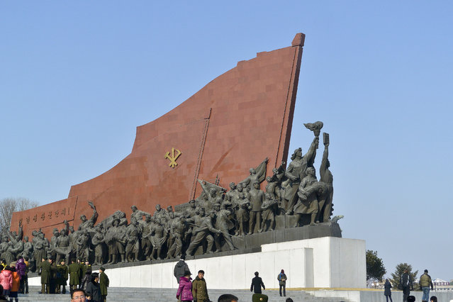 The Socialist Revolution monument in the capital in February 2013, in Pyongyang, North Korea. (Photo by Andrew Macleod/Barcroft Media)