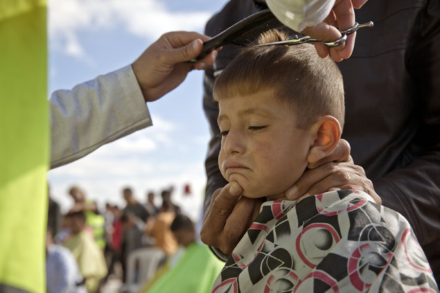 A Syrian Kurdish refugee child from the Kobani area has his hair cut by a volunteer at a refugee camp  in Suruc, near the Turkey-Syria border Sunday, November 2, 2014. Kobani, also known as Ayn Arab, and its surrounding areas, has been under assault by extremists of the Islamic State group since mid-September and is being defended by Kurdish fighters. (Photo by Vadim Ghirda/AP Photo)
