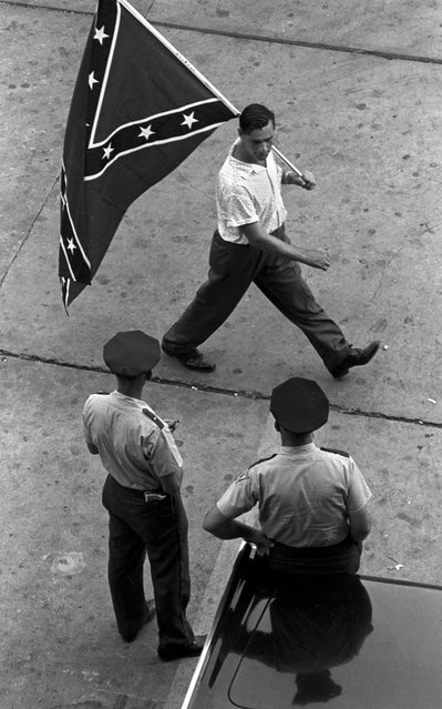 August, 1963 – A pro-segregation demonstrator takes to the streets during anti-Semitic demonstration in the summer of 1963. Some are especially active during the weeks leading up to the integration of Birmingham schools. (Photo by Vernon Merritt/The Birmingham News)