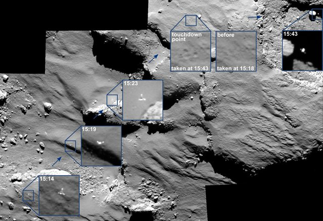 The combination image of several partially enlarged photographs released by the European Space Agency, ESA, Monday November 17, 2014 shows the journey of Rosetta's Philae lander as it approached and then rebounded from its first touchdown on Comet 67P/Churyumov-Gerasimenko on November 12,  2014. (Photo by AP Photo/ESA)